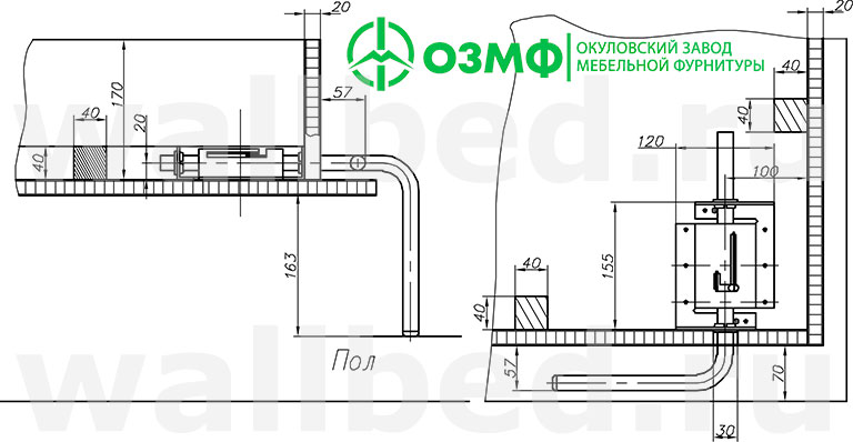 чертежи ножек для 582 механизма для шкаф-кровати трансформера