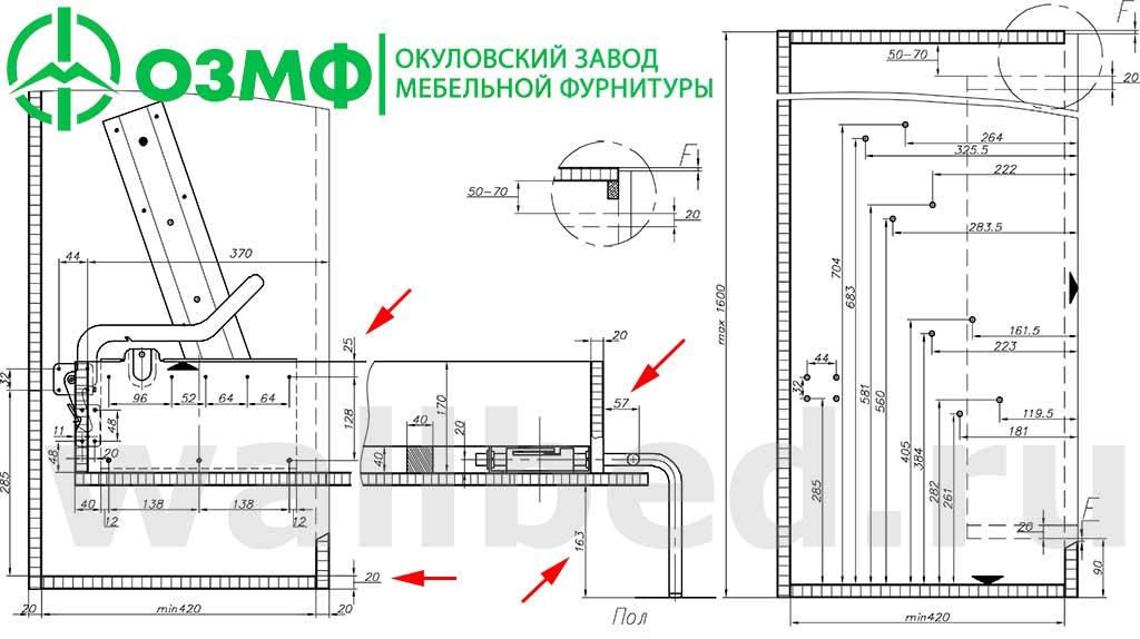 Установка 582 механизма для шкаф-кровати ОЗМФ - схема присадки - вопросы