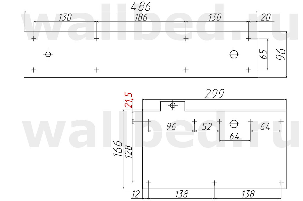 582 механизм - геометрические и крепежные размеры