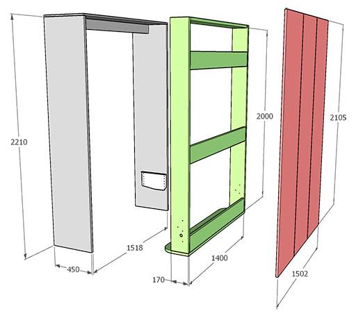 габаритные размеры шкаф-кровати 140х200