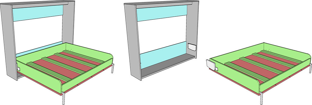 деталировка горизонтальной шкаф-кровати 160х200