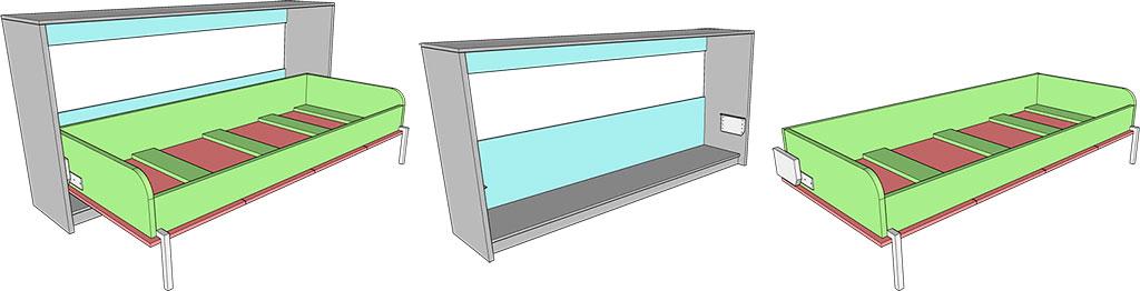 деталировка горизонтальной шкаф-кровати 80х200