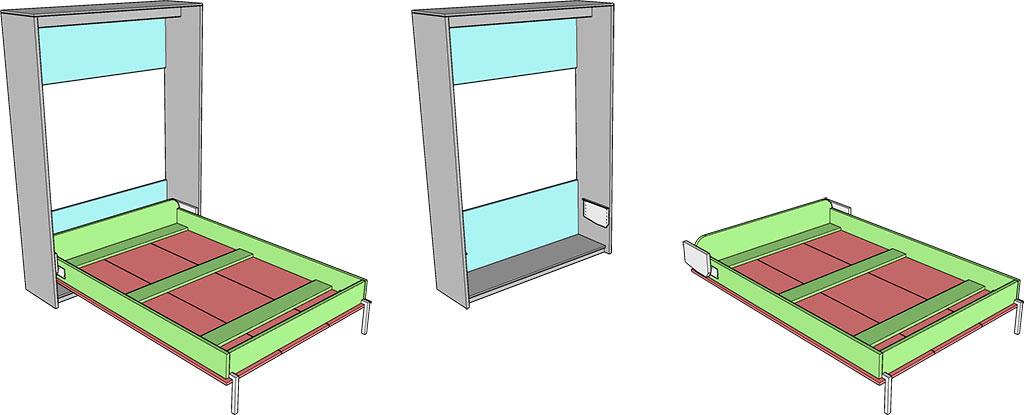 деталировка вертикальной шкаф-кровати 140х200
