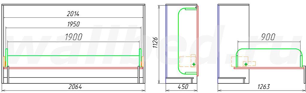 габаритный размер шкаф-кровати MLA 209