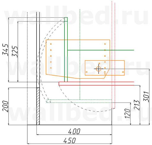 Шкаф-кровать глубиной 400 мм - механизм MLA 108 - размеры по чертежу