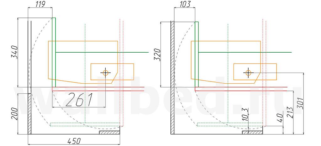 механизм MLA 108 для шкаф-кровати глубиной 450 мм - присадка 261 мм